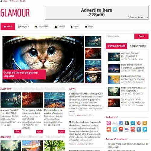 WordPress 'GLAMOUR' Website eCommerce Magazine Theme For Sale (FREE HOSTING)