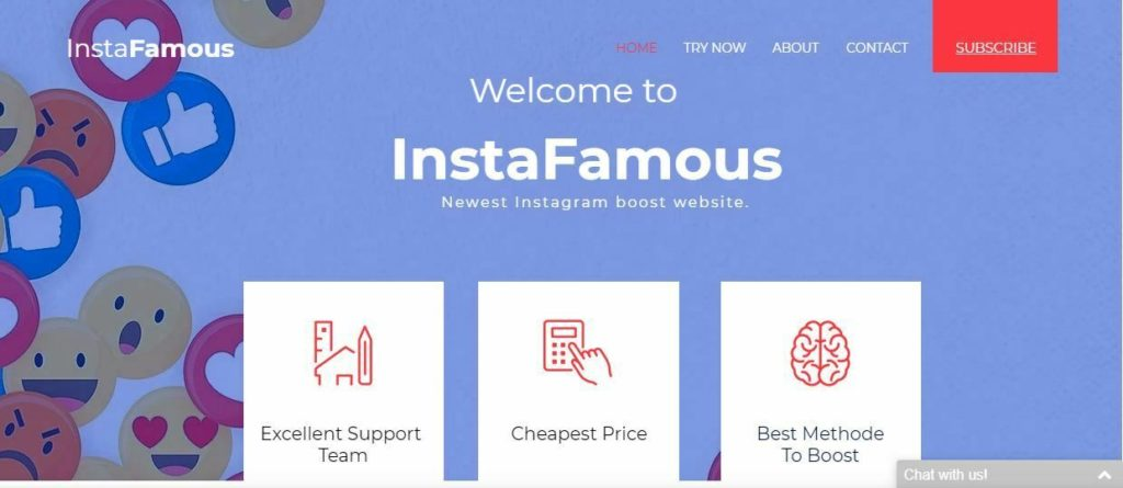 goinstafamous.com website for SALE / monthly income