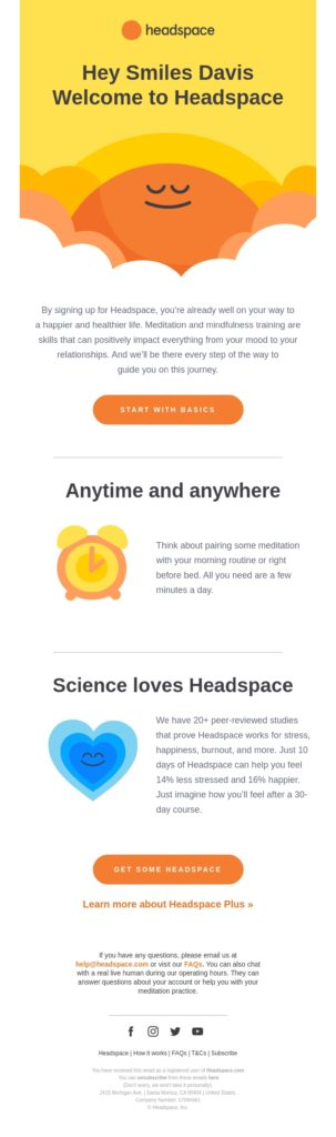 Headspace email showing an example of a welcome message