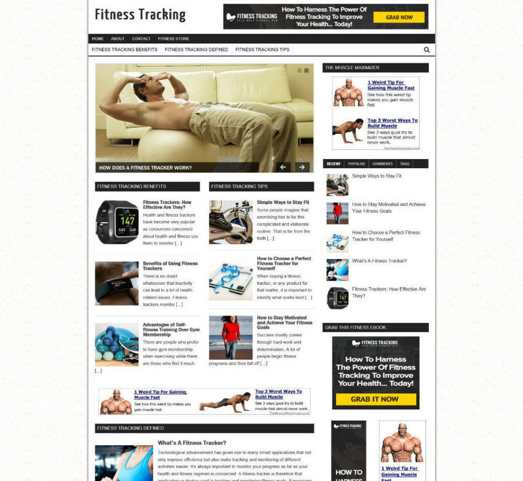 FITNESS TRACKING WEBSITE & AFFILIATE STORE WITH NEW FREE DOMAIN + HOSTING