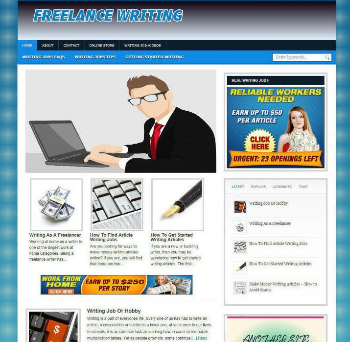 FREELANCE WRITING JOBS ADVICE STORE & AFFILIATE WEBSITE WITH VIDEO PAGES -DOMAIN