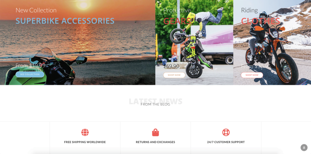 Motorcycle Dropshipping Store - Professional Ecommerce Website Design