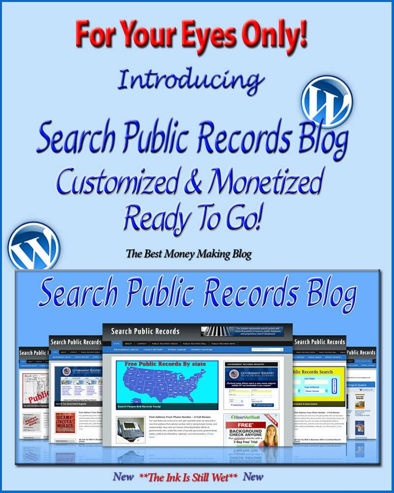 Search Public Records Blog Self Updating Website -Clickbank Amazon Adsense Pages