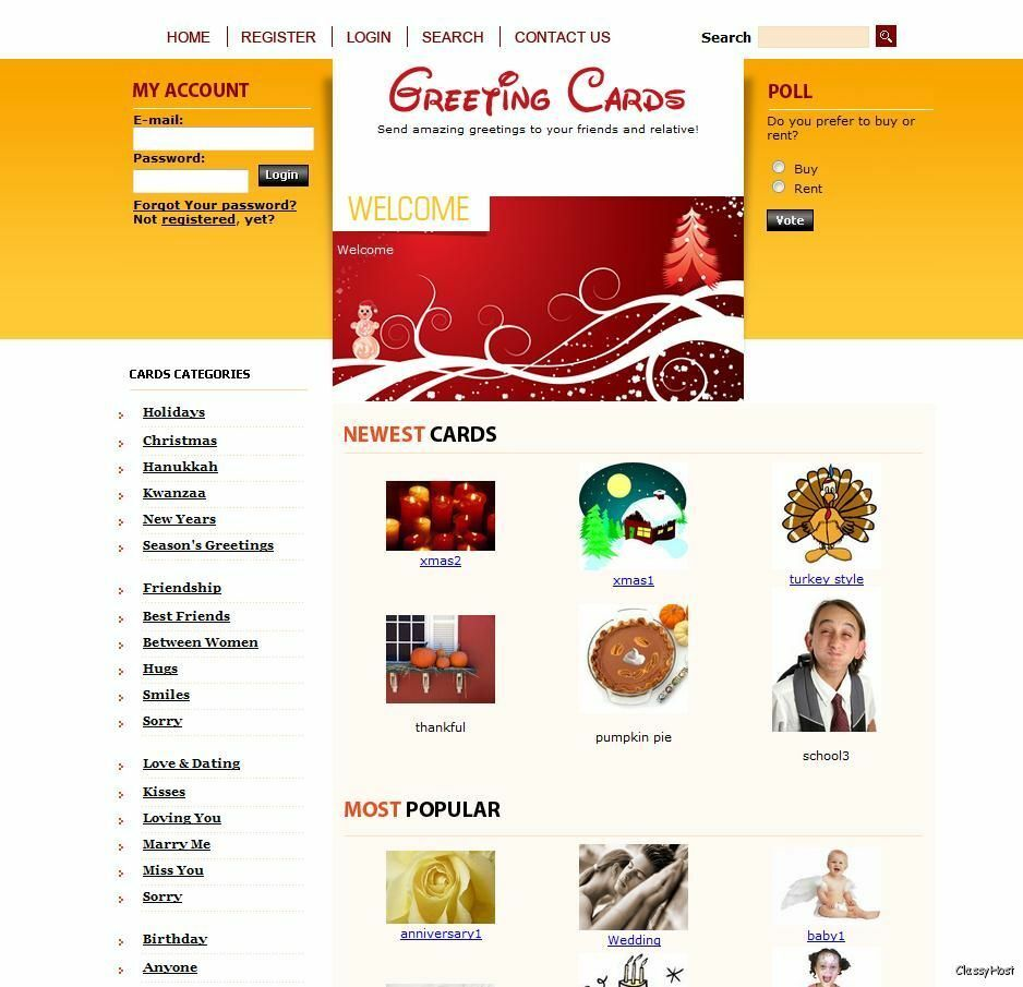 Send FREE Ecards. Greeting Cards Website Business for Google Adsense Earnings.