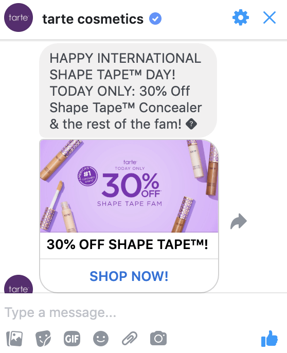 Facebook Messenger ad from Tarte Cosmetics sent directly to user inbox