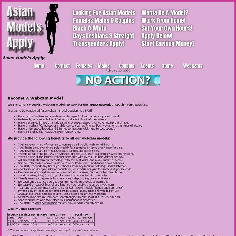 WebCam Model Referrals and Agents Website. Asian Models Apply..