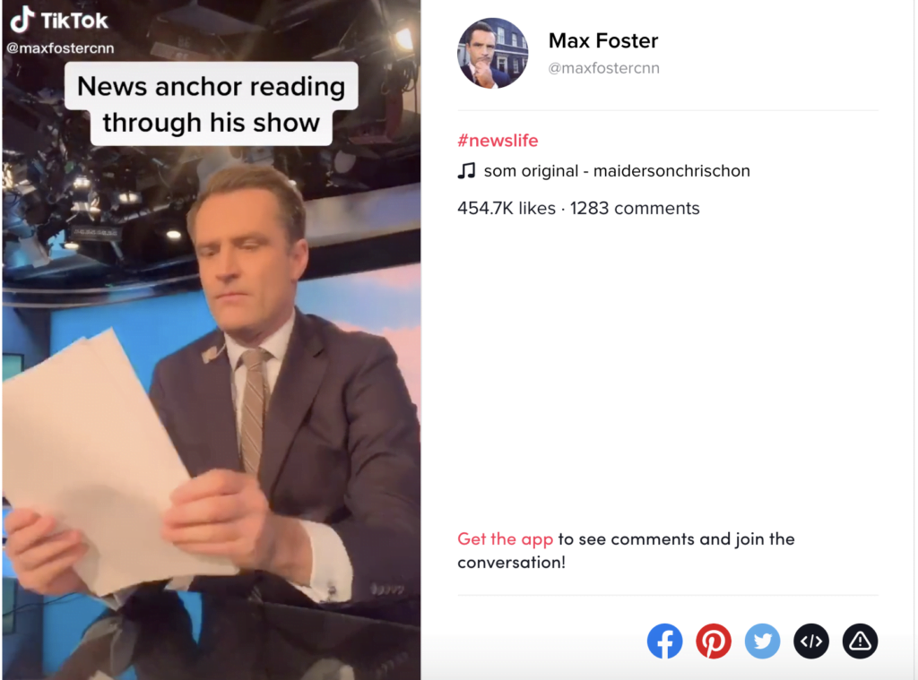 Example of Tik Tok used by newscasters