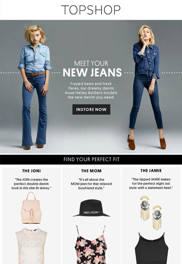 One of our favorite Strategies for Selling More Online is to link a landing page directly in an email, like Topshop does