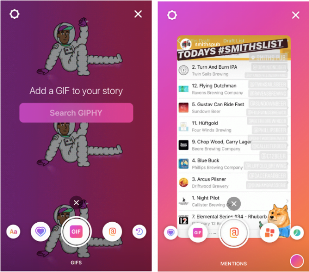 2 examples of Instagram Stories using Create mode