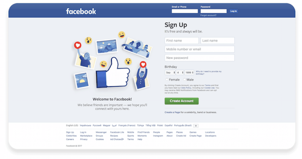 Facebook left to right design.