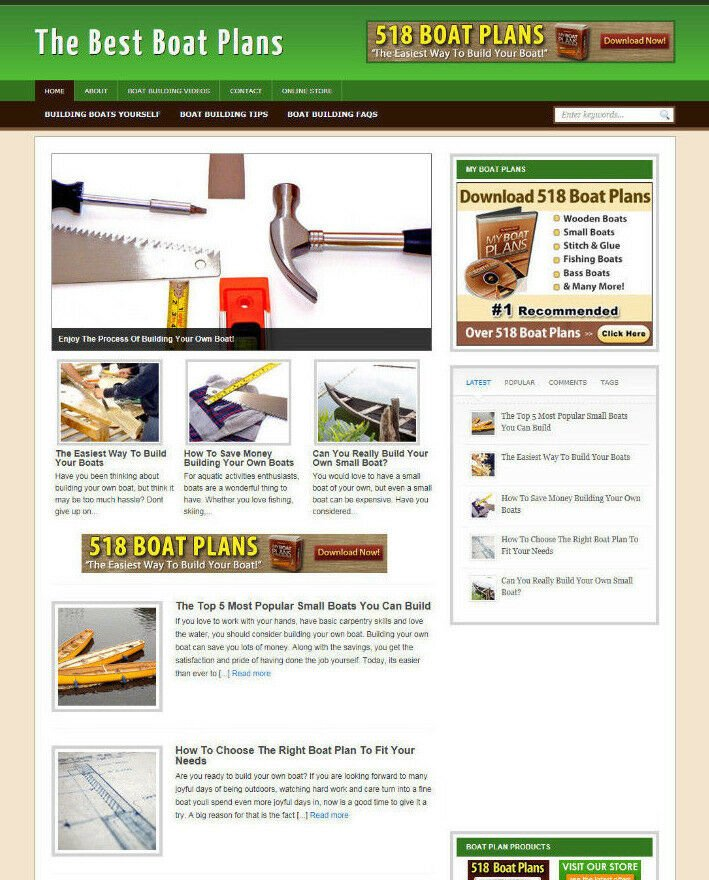 BOAT PLANS WEBSITE WITH BLOG AND AFFILIATE STORE NEW DOMAIN & HOSTING