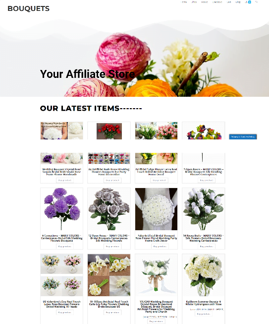 BOUQUETS WEBSITE WITH NEW DOMAIN - FULLY STOCKED - EASY TO RUN