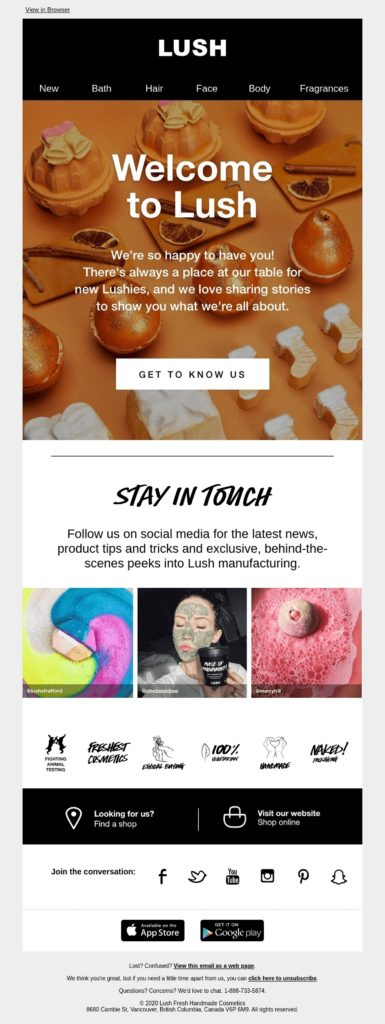 Lush welcome email with good opening line
