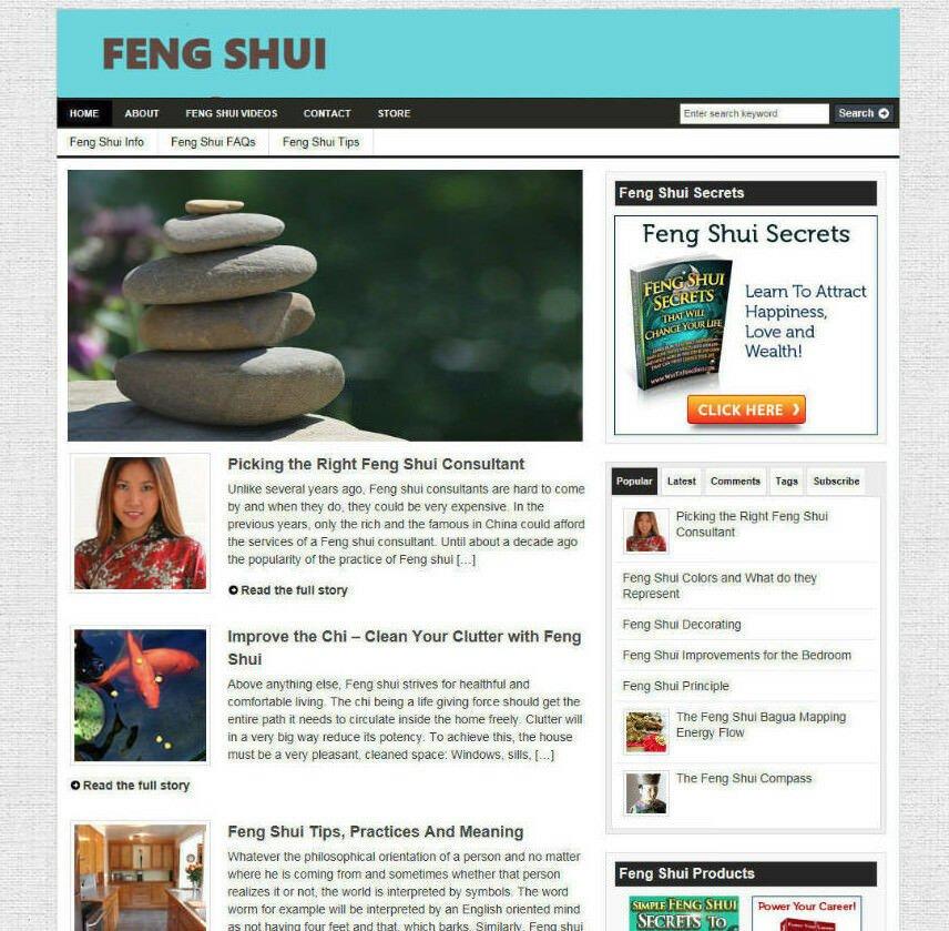 FENG SHUI SECRETS WEBSITE & STORE - FREE DOMAIN - PRO DESIGN - VIDEO PAGES