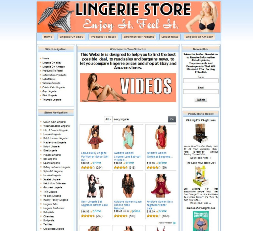 FULLY STOCKED LINGERIE STORE WEBSITE BUSINESS FOR SALE