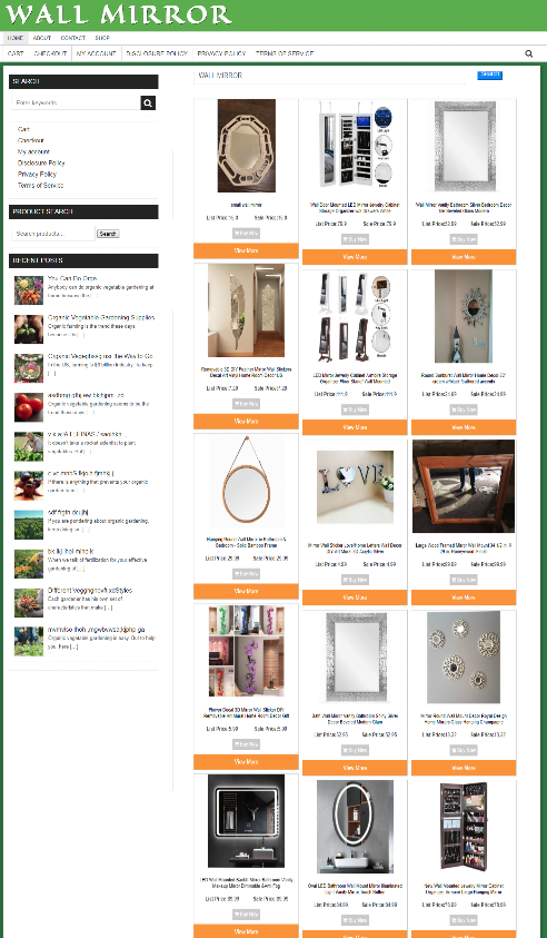 FULLY STOCKED WALL MIRROR WEBSITE - EASY ECOMMERCE BUSINESS - 1 YEARS HOSTING