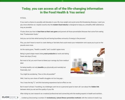Food, Health, & You - Live Longer, Prevent & Reverse Illness