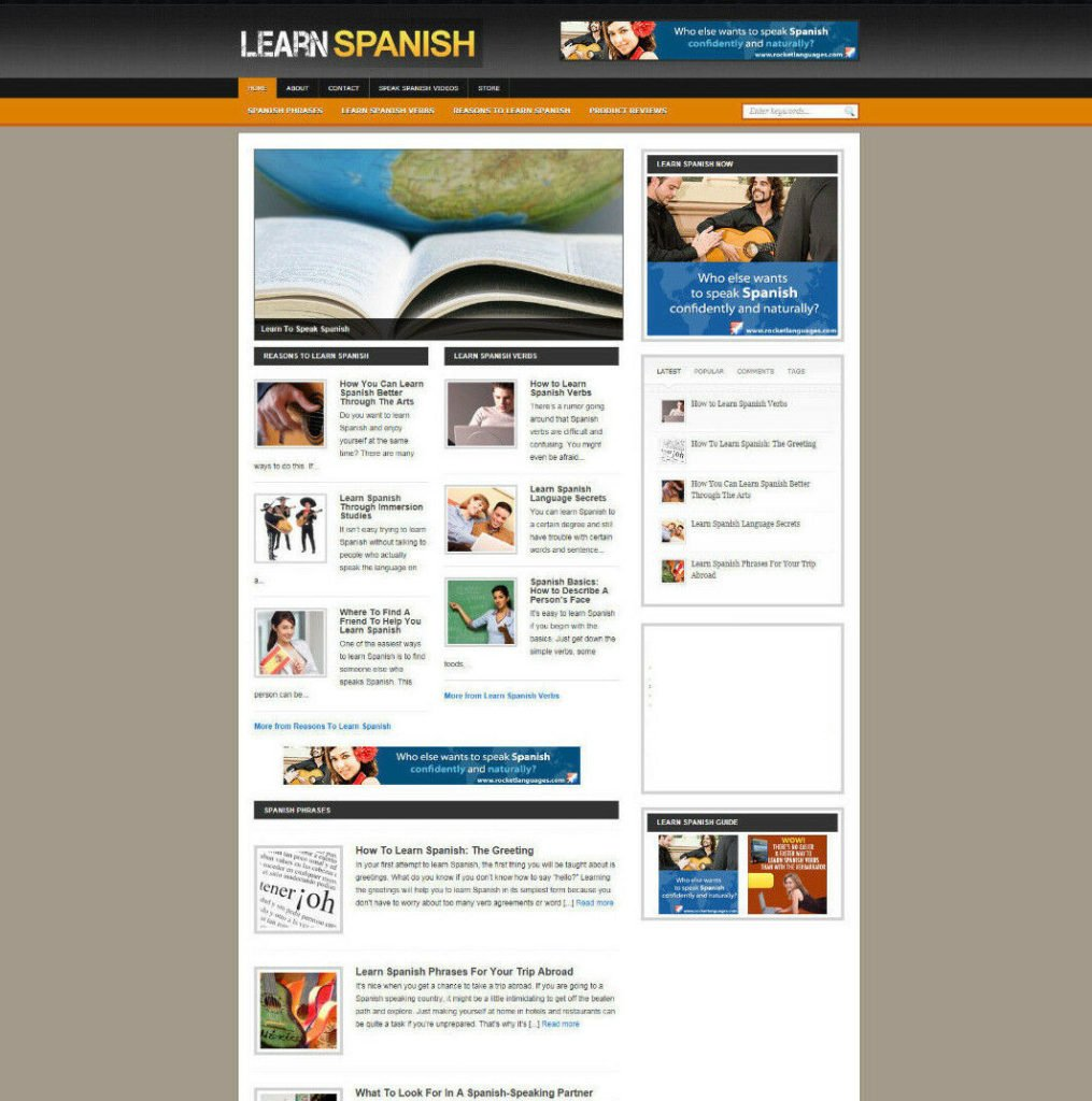 LEARN SPANISH AFFILIATE WEBSITE & BLOG WITH STORE + NEW DOMAIN & HOSTING