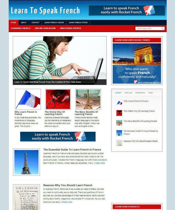 LEARN TO SPEAK FRENCH AFFILIATE STORE WEBSITE WITH BANNERS AND NEW DOMAIN