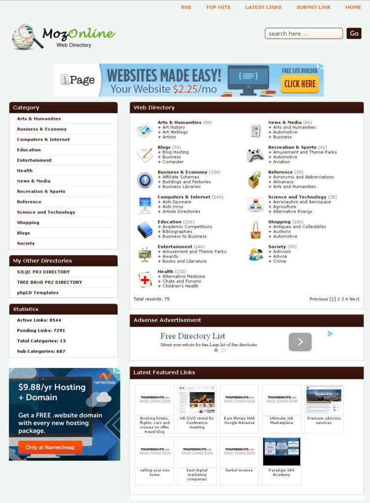 Links Directory Website + Preloaded + Free Hosting