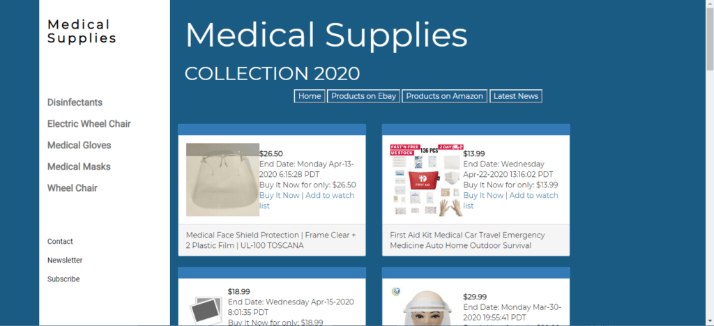 MEDICAL SUPPLIES Website Business For Sale - Working From Home