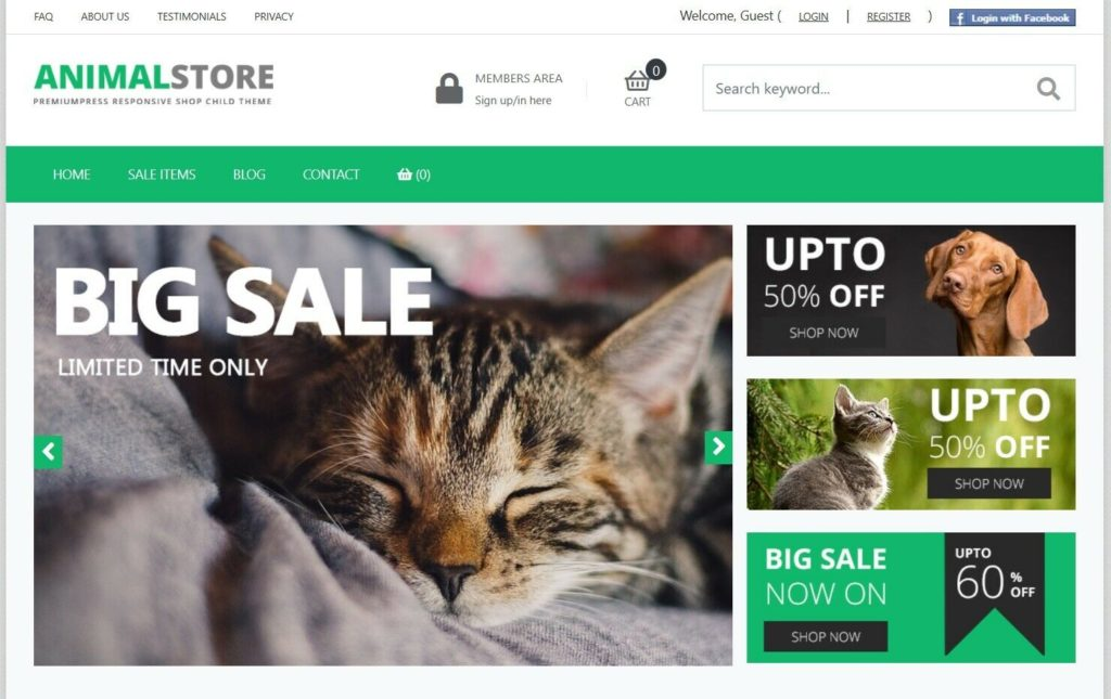 Pet Shop Store/Shopping Cart Website, Fully Responsive
