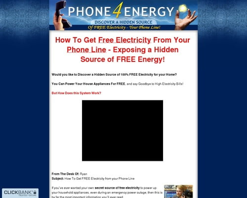 Phone 4 Energy - Discover a Hidden Source of Free Electricity - Your Phone Line!