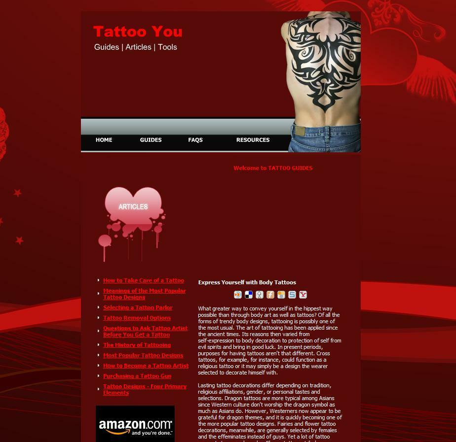 Profitable Tattoo Guides Tips Advice Amazon Clickbank Business Website For Sale!