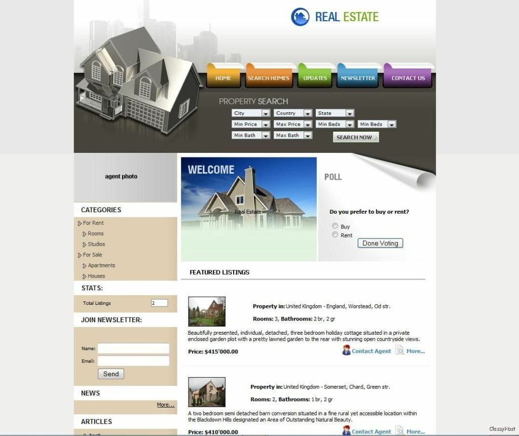 Property Listings Website * Realtor Business For Sale * Real Estate Agent Agency
