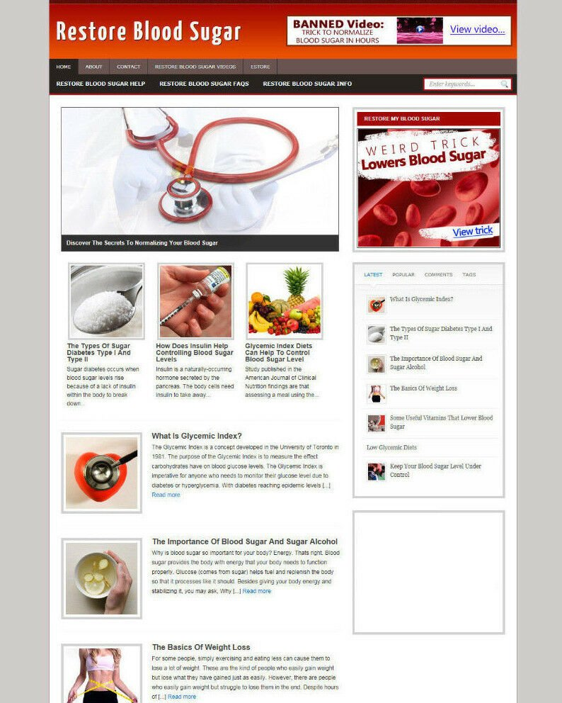 RESTORE BLOOD SUGAR WEBSITE BLOG WITH AFFILIATE OPTIONS FREE DOMAIN