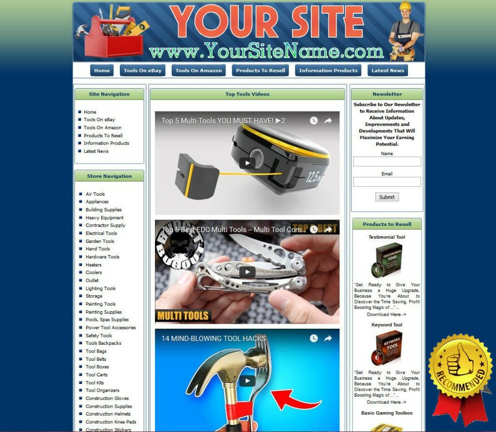 TOOLS STORE Website Business with Stock Money from eBay Amazon Adsense Clickbank