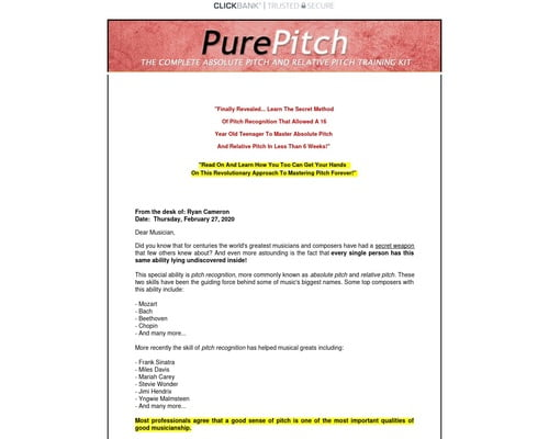 The Pure Pitch Method - Perfect Pitch Ear Training