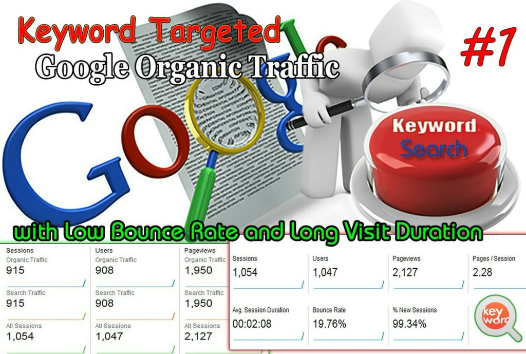 Unlimited Keyword Targeted Google Organic Traffic Low Bounce Rate website seo