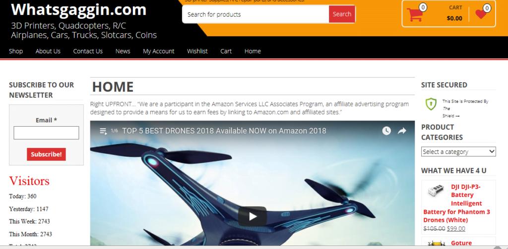 WhatsGaggin.com domain name  sample website Amazon You Tube Promo Hobby Store