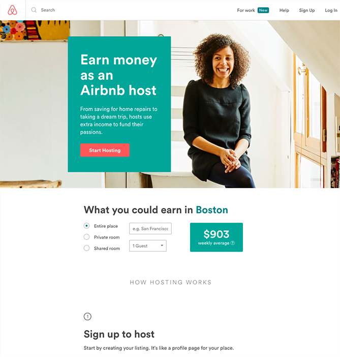 Airbnb uses a landing page to help users make more money.