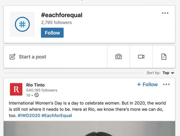 Rio Tinto post on LinkedIn using #eachforequal