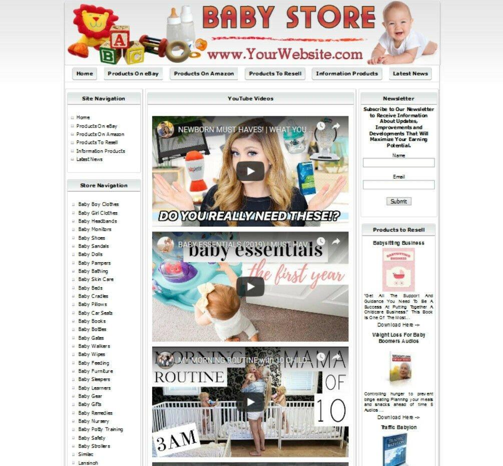 BABY STORE. Profitable Online Business Website. Amazon, Google, eBay, Clickbank