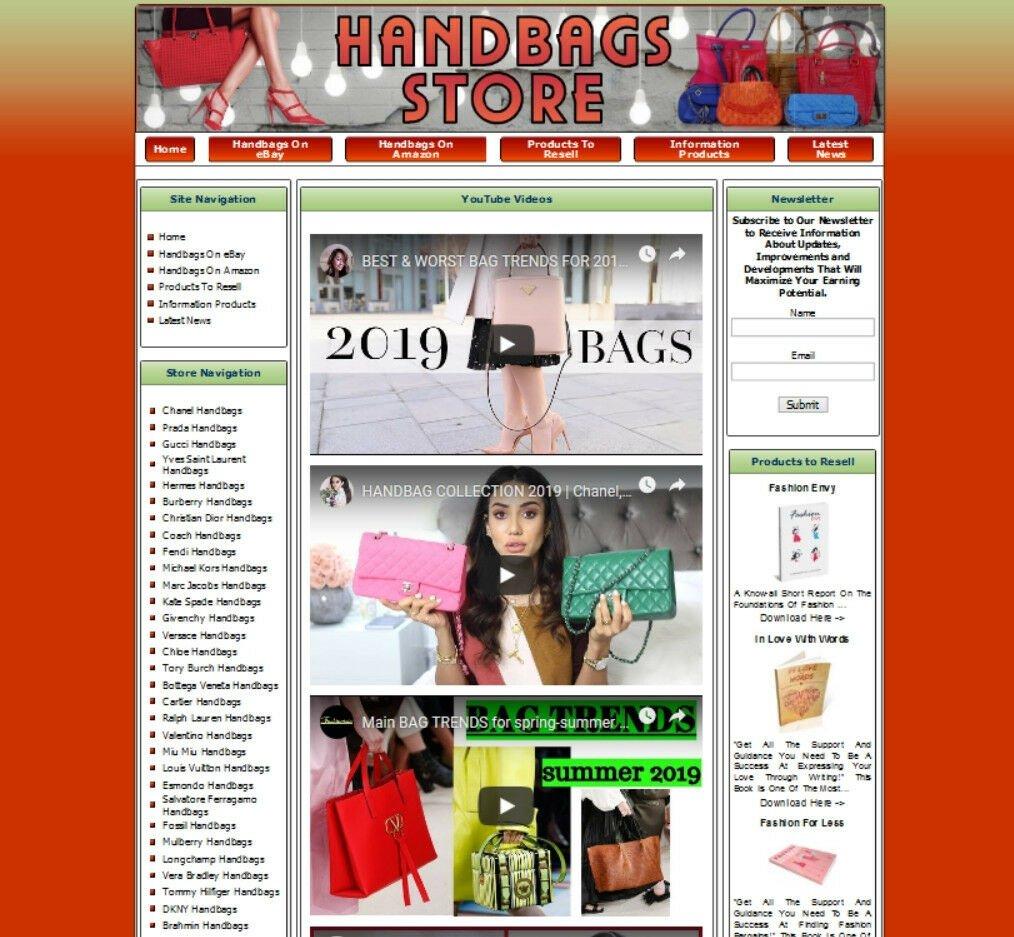 HANDBAG STORE ECOMMERCE BUSINESS WEBSITE FOR SALE. AMAZON CLICKBANK ADSENSE EBAY