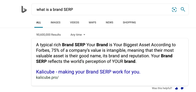 Q&A result on Bing - What is a Brand SERP?