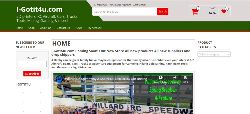 I-GotIt4U.com domain name has a sample website Amazon You Tube Promo Hobby Store