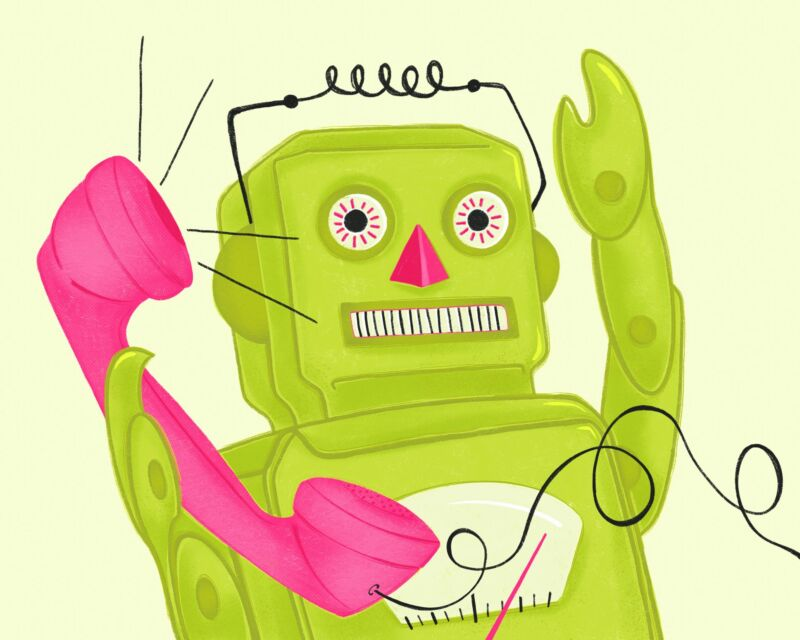 Drawing of a robot holding a telephone.
