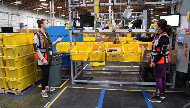 two amazon employees working