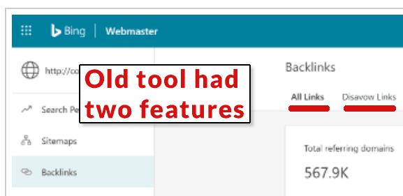 Screenshot of previous old Bing backlink tool