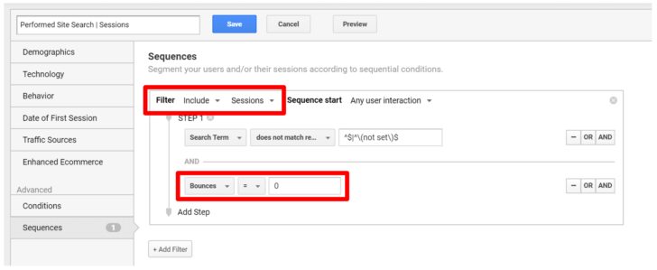 Sessions performed site search Google Analytics custom segment