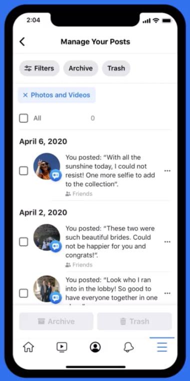 Facebook Lets Users Delete Old Posts in Bulk