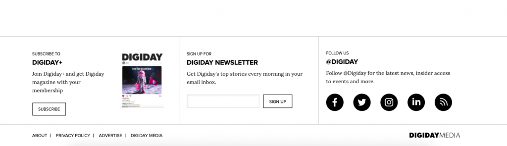 Screenshot of Digiday newsletter signup in website footer.