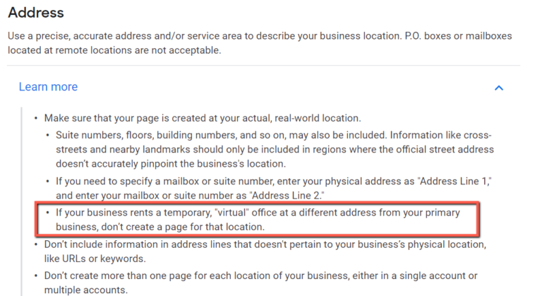 Google My Business Guidelines for Virtual Offices