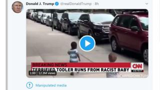 A tweet from president Trump shows a black child running away from a white child on a city street, with the news caption