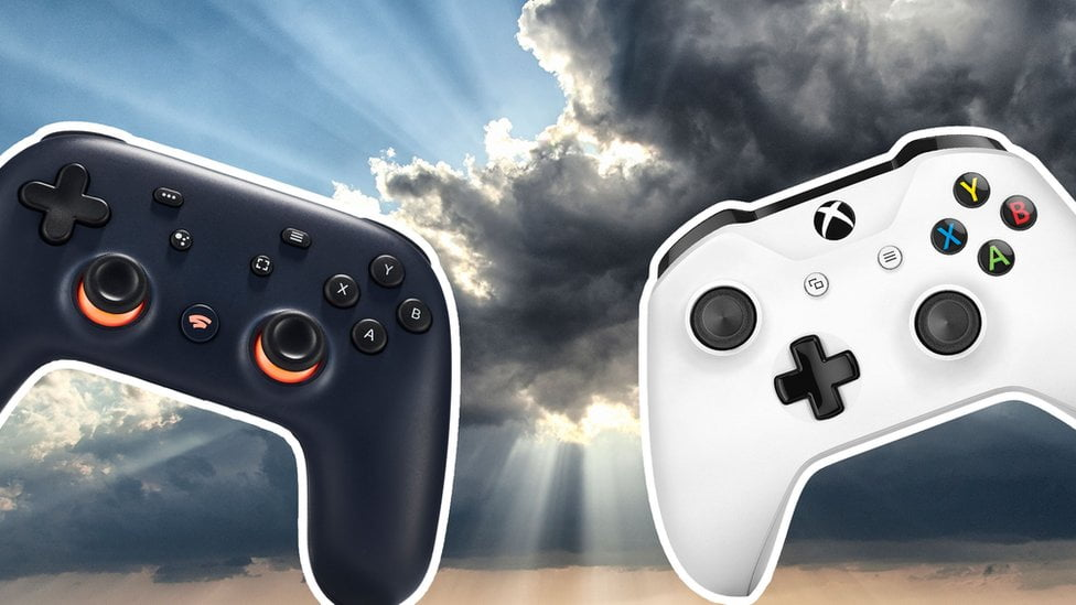 A Google Stadia controller (left) and an Xbox One controller (right) against a storm cloud