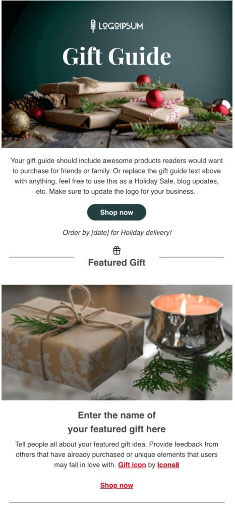 Green and Red Gift Guide Email Template